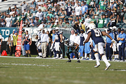 Philadelphia Eagles free safety Kurt Coleman #42 stands in the ready position on special teams during the NFL game between the San Diego Chargers and the Philadelphia Eagles in Philadelphia. The Chargers won 33-30. (Photo by Brian Garfinkel)