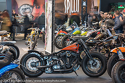 Apuania Choppers 1991 Harley-Davidson Fatboy custom in the Low Ride custom bike show during the Motor Bike Expo. Verona, Italy. Sunday January 22, 2017. Photography ©2017 Michael Lichter.