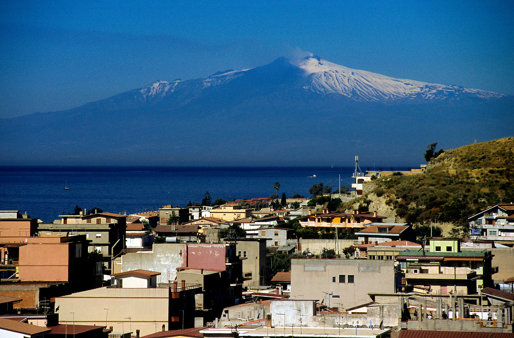 Bova Marina, landscape of the Mediterranean sea between Calabria and Sicily. On the back the Etna volcano.