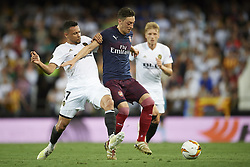 May 9, 2019 - Valencia, Spain - Mesut Ozil of Asenal and Francis Coquelin of Valencia battle for the ball during the UEFA Europa League Semi Final Second Leg match between Valencia and Arsenal at Estadio Mestalla on May 9, 2019 in Valencia, Spain. (Credit Image: © Jose Breton/NurPhoto via ZUMA Press)