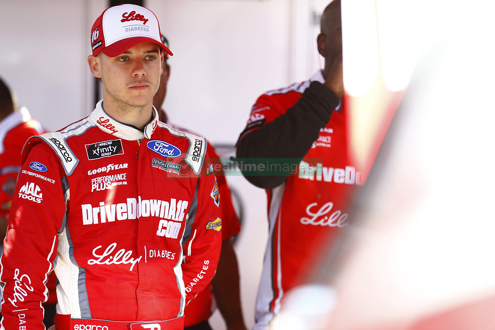 April 13, 2018 - Bristol, Tennessee, United States of America - April 13, 2018 - Bristol, Tennessee, USA: Ryan Reed (16) hangs out in the garage area before final practice for the Fitzgerald Glider Kits 300 at Bristol Motor Speedway in Bristol, Tennessee. (Credit Image: © Chris Owens Asp Inc/ASP via ZUMA Wire)