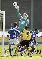 Fotball , <br /> Adeccoligaen ,  <br /> 13.04.08 , <br /> Melløs stadion , <br /> Moss FK - IL Hødd , <br /> Vebjørn Skeide Hødd , <br /> Fernando Caballero Hødd , <br /> Kyle Veris Hødd , <br /> Vladan Grujic Moss , <br /> Foto: Thomas Andersen / Digitalsport