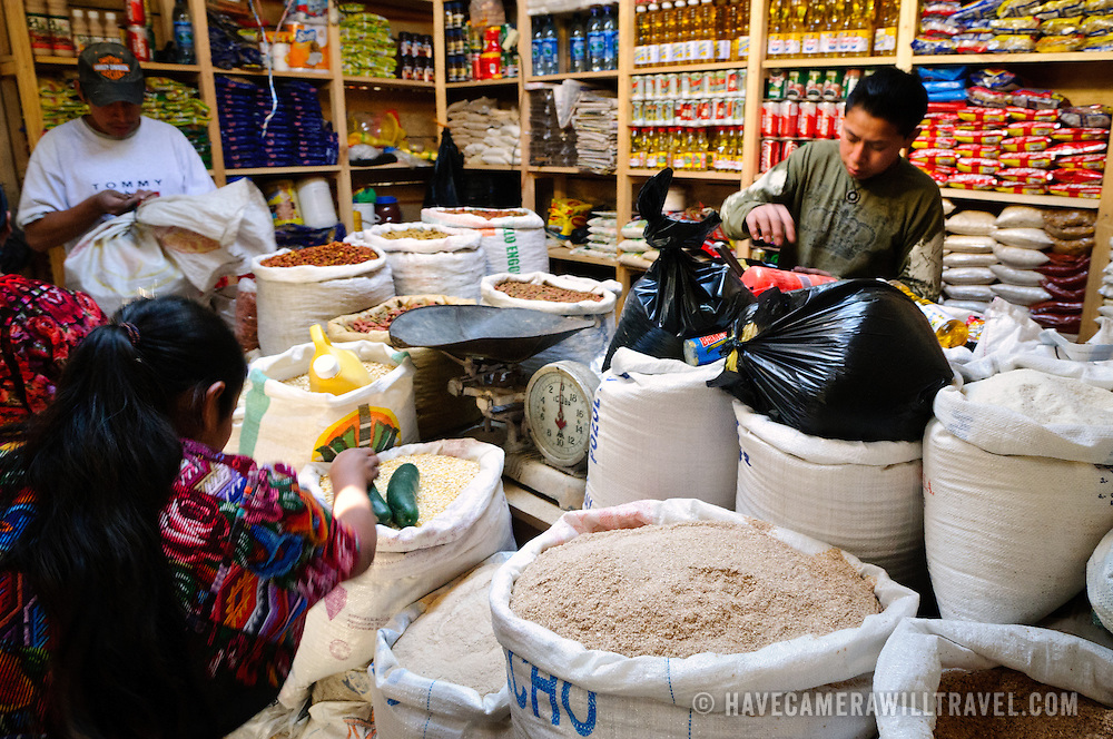 Sacks of seeds and grains for sale at Chichi market. Chichicastenango is an indigenous Maya town in the Guatemalan highlands about 90 miles northwest of Guatemala City and at an elevation of nearly 6,500 feet. It is most famous for its markets on Sundays and Thursdays.