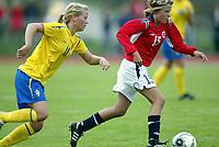 Fotball<br /> Landskamp J15/16 år<br /> Tidenes første landskamp for dette alderstrinnet<br /> Sverige v Norge 1-3<br /> Steungsund<br /> 11.10.2006<br /> Foto: Anders Hoven, Digitalsport<br /> <br /> Benedikte Kvavik - Lyngdal / Norge<br /> Tilda Heimersson - Sverige