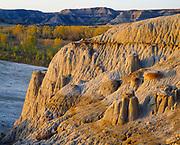 Badlands above the Little Missouri River, North Unit, Theodore Roosevelt National Park, North Dakota.