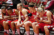 Utah players get excited on the bench before the first half of the NCAA Women's Basketball game between Utah and BYU at the Jon M. Huntsman Center, Saturday, Dec. 8, 2012.