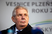 """Portrait of Czech president Milos Zeman's during his public """"meetings with citizens"""" at the village of Brasy located in the Pilsen Region. Miloš Zeman (born 28 September 1944) is the third and current President of the Czech Republic, in office since 8 March 2013.  He announced his candidacy for the 2018 presidential elections which will be held in the Czech Republic on 12–13 January."""