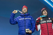 Billy Morgan, Great Britain, BRONZE with Sebastien Toutant, Canada, GOLD celebrate during the medal ceremony of the Snowboard Big Air on the 24th February 2018 at the Olympic Plaza, Pyeongchang-gun, South Korea