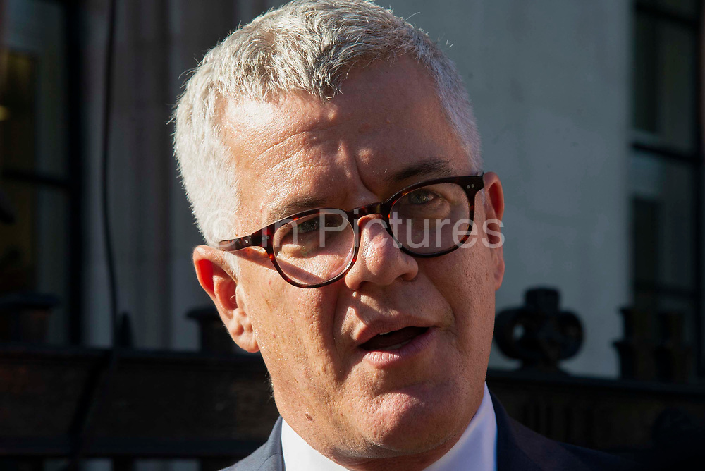 Jolyon Maugham QC, speaks to the media outside the Supreme Court on day three of the hearing to rule on the suspension of parliament. Supreme Court judges will decide if Prime Minister Boris Johnson acted unlawfully in advising the Queen to prorogue parliament, on September 19th 2019 in London, United Kingdom.