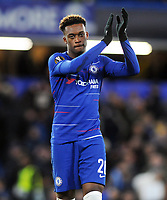 Football - 2018 / 2019 UEFA Europa League - Round of Sixteen, First Leg: Chelsea vs. Dynamo Kiev<br /> <br /> Callum Hudson- Odoi of Chelsea salutes the crowd after the match and scoring goal no 3, at Stamford Bridge.<br /> <br /> COLORSPORT/ANDREW COWIE