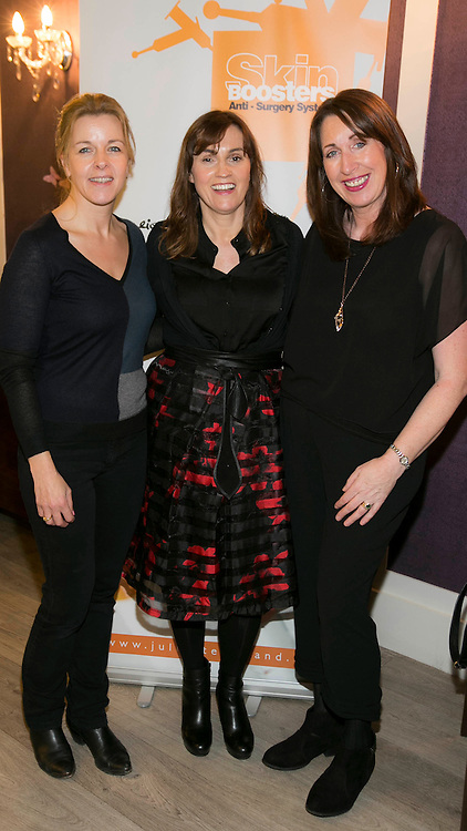 Repro Free: 14/10/2015 Pictured at the launch of International skincare range Juliette Armand's Skin Boosters in Ireland, offering 'miracles' in skincare is Maria Lendaro, Barbara Stack and Veronica Crowley. Picture Andres Poveda