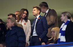 Crystal Palace Chairman Steve Parish and TV presenter Susanna Reid during the Premier League match at Stamford Bridge, London.
