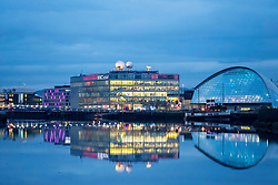 Night view of BBC Scotland Studios beside River Clyde in Glasgow, Scotland, United Kingdom.