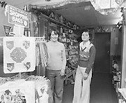 Shop assistants showing off shopping bags in the shop under the Hogan stand in Croke Park taken on the 21st December 1974.