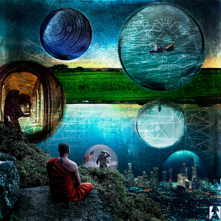 Digital art of a Buddhist monk overlooking city lights from a high rock ledge. His thoughts are represented by bubbles containing Neil Armstrong on the moon for instance, and a small boat on the ocean and a Franciscan monk in a hall of pillars and startrails and the city below is represented as a bubble. In the middle of the piece is a slice of earth, of green grass where it is as if there is a bubble emerging. There is also an upside-down bubble of the back of a man looking into the fog resting on the bottom-side of the earth.