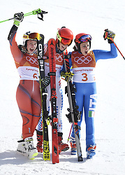 February 15, 2018 - Pyeongchang, South Korea - Left to right, RAGNHILD MOWINCKEL of Norway MIKAELA SHIFFRIN of the United States and FEDERICA BRIGNONE of Italy celebrate on the awards stand after winning silver, gold and bronze in the Womens Giant Slalom event Thursday, February 15, 2018 at the Yongpyang Alpine Center at the Pyeongchang Winter Olympic Games.  Photo by Mark Reis, ZUMA Press/The Gazette (Credit Image: © Mark Reis via ZUMA Wire)