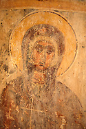 Fresco of of Ayii Theodori, Paliachora,   Aegina, Greek Saronic Islands .<br /> <br /> If you prefer to buy from our ALAMY PHOTO LIBRARY  Collection visit : https://www.alamy.com/portfolio/paul-williams-funkystock/aegina-greece.html <br /> <br /> Visit our GREECE PHOTO COLLECTIONS for more photos to download or buy as wall art prints https://funkystock.photoshelter.com/gallery-collection/Pictures-Images-of-Greece-Photos-of-Greek-Historic-Landmark-Sites/C0000w6e8OkknEb8