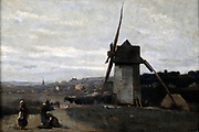 A Windmill, Etretat'  oil on wood, by  Jean-Baptiste Camille Corot (1796-1875) French artist, leading painter of the Barbizon School.  Etretat, Normandy, France.