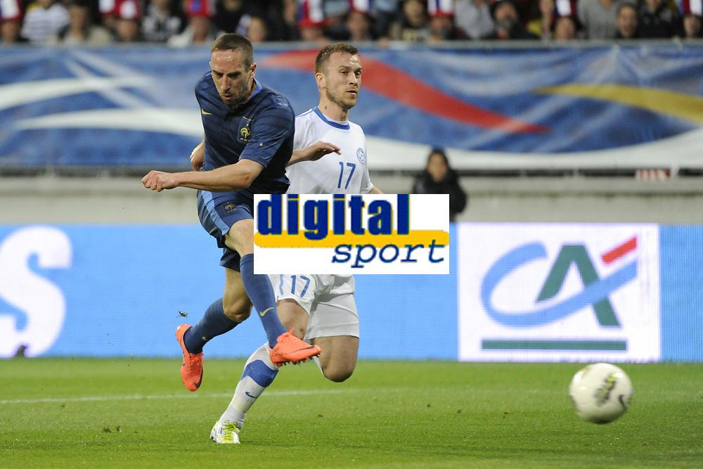 FOOTBALL - INTERNATIONAL FRIENDLY GAMES 2011/2012 - FRANCE v ESTONIA  - 5/06/2012 - PHOTO JEAN MARIE HERVIO / REGAMEDIA / DPPI - GOAL FRANCK RIBERY (FRA) / SANDER PURI (EST)