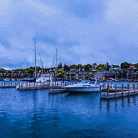 """""""Charlevoix Michigan Painting""""<br /> <br /> Enjoy this lovely digital oil painting of Charlevoix City Marina in Charlevoix Michigan! A peaceful scene in shades of blue!"""