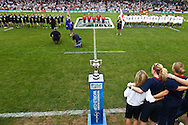 5th September 2010, Twickenham Stoop, London, England: The world cup trophy stands on the pitch as the teams sing the national anthems before the IRB Women's Rugby World Cup final between England and New Zealand Black Ferns (Photo by Andrew Tobin www.slikimages.com)