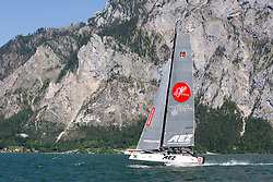 Tom Slingsby practices before The GC32 Austria Cup 2014 (20/24 May 2014). Gmunden - Lake Traunsee - Austria.