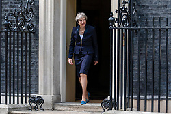 © Licensed to London News Pictures. 23/05/2018. London, UK. Prime Minister Theresa May leaves 10 Downing Street to greet Prime Minister of Belgium Charles Michel. Photo credit: Rob Pinney/LNP