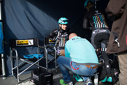 Anna Christian (GBR) of Drops Cycling Team prepares for the Liege-Bastogne-Liege Femmes - a 135.5 km road race, between  Bastogne and Ans on April 23, 2017, in Liege, Belgium.