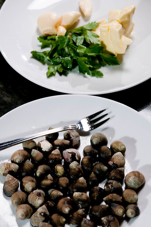 Food specialties created by the talented and creative Chef Jason Dodge at Peche Restaurant and Bar. Appetizer of Canadian Black Periwinkle snails served with arugula and butter.