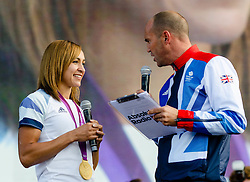 © Licensed to London News Pictures. 05/08/2012. London, UK.     Team GB gold medal winning heptathlete Jessica Ennis on-stage at BT London Live, Hyde Park. Jessica won the gold medal yesterday. Jessica was interviewed by Absolute Radio presenter Johnny Vaughan.  Photo credit : Richard Isaac/LNP