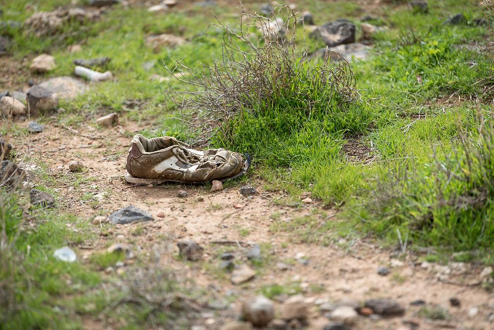 20 February 2020, Umm el Jimal, Jordan: An old shoe lies on the ground in Umm el Jimal.