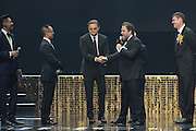 MACAU, CHINA - OCTOBER 27: (CHINA OUT)<br />  Famous actor Leonardo DiCaprio (L3) of America attends an opening ceremony of Studio City Macau on October 27, 2015 in Macau, China. ©Exclusivepix Media