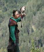 Austria, County of Salzburg, Hohenwerfen Castle, Birds of Prey Show, falconer with a falcon