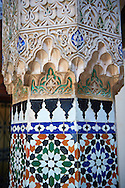 Arabesque Moorish plasterwork column capitals of the Dar Jamai Museum  a typical dwellings of high Moroccan bourgeoisie at the end of XIX century. located in the old Medina built by Mohamed Ben Larbi Jamai grend vizier of Sultan Moulay Hassan (1873-1894). Meknes, Morocco .<br /> <br /> Visit our MOROCCO HISTORIC PLAXES PHOTO COLLECTIONS for more   photos  to download or buy as prints https://funkystock.photoshelter.com/gallery-collection/Morocco-Pictures-Photos-and-Images/C0000ds6t1_cvhPo<br /> .<br /> <br /> Visit our ISLAMIC HISTORICAL PLACES PHOTO COLLECTIONS for more photos to download or buy as wall art prints https://funkystock.photoshelter.com/gallery-collection/Islam-Islamic-Historic-Places-Architecture-Pictures-Images-of/C0000n7SGOHt9XWI