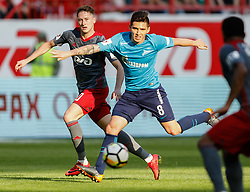 May 5, 2018 - Moscow, Russia - Anton Miranchuk (L) of FC Lokomotiv Moscow and Matias Kranevitter of FC Zenit Saint Petersburg during the Russian Football League match between FC Lokomotiv Moscow and FC Zenit Saint Petersburg on May 5, 2018 at RZD Arena in Moscow, Russia. (Credit Image: © Mike Kireev/NurPhoto via ZUMA Press)