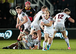 Ulster Rugby's Paul Marshall gets the ball away<br /> <br /> Photographer Simon King/Replay Images<br /> <br /> Guinness Pro14 Round 10 - Dragons v Ulster - Friday 1st December 2017 - Rodney Parade - Newport<br /> <br /> World Copyright © 2017 Replay Images. All rights reserved. info@replayimages.co.uk - www.replayimages.co.uk