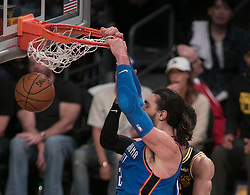 February 8, 2018 - Los Angeles, California, U.S - Steven Adams #12 of the Oklahoma Thunder goes for a dunk during their NBA game with the  Los Angeles Lakers on Thursday February 8, 2018 at the Staples Center in Los Angeles, California. Lakers defeat Thunder, 106-81. (Credit Image: © Prensa Internacional via ZUMA Wire)