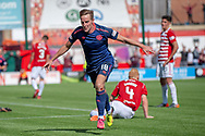 Steven MacLean of Heart of Midlothian celebrates scoring Hearts third goal during the Ladbrokes Scottish Premiership League match between Hamilton Academical FC and Heart of Midlothian FC at New Douglas Park, Hamilton, Scotland on 4 August 2018. Picture by Malcolm Mackenzie.