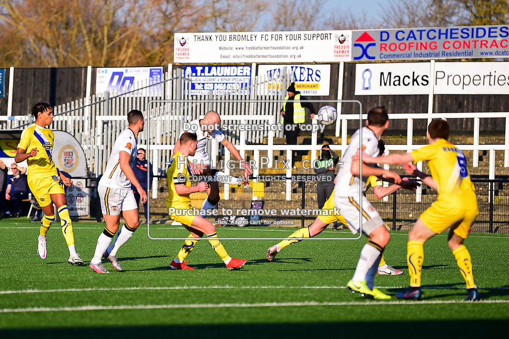 Bromley's Luke Coulson takes a shot from distance <br /> Bromley | England  | 27 February 2021 | Westminster Waste Stadium<br /> Bromley v Altrincham<br /> Vanarama National League<br /> (Photo: © Jon Hilliger / HilligerPix)