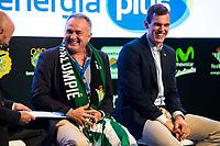 Ex soccer player Rafael Gordillo and Real Betis Energia Club player Nikola Radicevic during the presentation of the new season of La Liga Endesa 2016-2017 in Madrid. September 20, 2016. (ALTERPHOTOS/Borja B.Hojas)