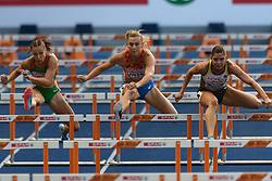 Nadine Visser op weg naar een finaleplaats op de 100m horden.bij het EK atletiek in Berlijn op 9-8-2018