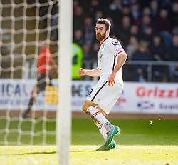 Inverness Caledonian Thistle's Ross Draper scoring their goal.<br /> Half time : Dundee 0 v 1 Inverness Caledonian Thistle, SPFL Ladbrokes Premiership game played at Dens Park, 27/2/2016.