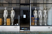 Naked mannequins standing in a closed store on South Moulton Street, during the third lockdown of the Coronavirus pandemic, on 3rd March 2021, in London, United Kingdom. Closures are aggravated by lockdown restrictions that are decimating foot traffic and driving more shoppers online away from the the capitals West End.