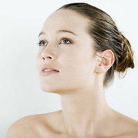 studio natural beauty portrait on isolated background of a young beautiful  woman