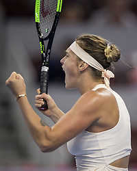 BEIJING , Oct. 2, 2018  Aryna Sabalenka of Belarus celebrates after winning the women's singles second round match against Garbine Muguruza of Spain at China Open tennis tournament in Beijing, China, Oct. 2, 2018. Aryna Sabalenka won 2-0. (Credit Image: © Fei Maohua/Xinhua via ZUMA Wire)