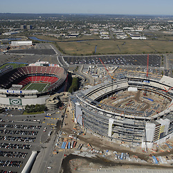 Aerial view of New York  Giants Stadium,  East Rutherford, New Jersey  at the Meadowlands, new construction and original stadium on October 10, 2008 ([Julia Robertson]/via AP Images)