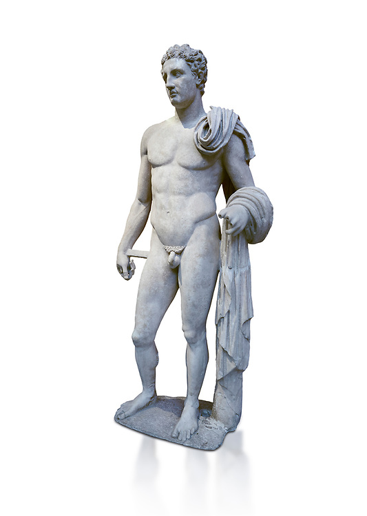 The 'Atalante Hermes' Roman marble statue found at Atalante. 2nd Cemt AD copy of the 4th cent BC Lysippean Greek style. Athens Archaeological Museum, cat no 240. Against white, <br /> <br /> Funserary statue of a youth depicted as Hermes. He is shown nude with his chlamys over his shoulder and wound around his right arm. In his left hand he holds a 'caduceus'. .<br /> <br /> If you prefer to buy from our ALAMY STOCK LIBRARY page at https://www.alamy.com/portfolio/paul-williams-funkystock/greco-roman-sculptures.html . Type -    Athens    - into LOWER SEARCH WITHIN GALLERY box - Refine search by adding a subject, place, background colour, etc.<br /> <br /> Visit our ROMAN WORLD PHOTO COLLECTIONS for more photos to download or buy as wall art prints https://funkystock.photoshelter.com/gallery-collection/The-Romans-Art-Artefacts-Antiquities-Historic-Sites-Pictures-Images/C0000r2uLJJo9_s0