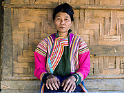 Portrait of a Khi / Lisu ethnic minority woman on 20th January 2016 in Kayah State, Myanmar. Myanmar is one of the most ethnically diverse countries in Southeast Asia with 135 different indigenous ethnic groups with over a dozen ethnic Karenni subgroups in the Kayah region