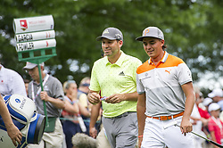 May 5, 2019 - Charlotte, North Carolina, United States of America - Sergio Garcia and Rickie Fowler share some laughs as they approach the sixteenth tee box during the final round of the 2019 Wells Fargo Championship at Quail Hollow Club on May 05, 2019 in Charlotte, North Carolina. (Credit Image: © Spencer Lee/ZUMA Wire)