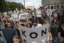 July 24, 2017 - Warsaw, Poland - Protesters during protest against government plans of changes to Poland's judicial system in Warsaw on July 25, 2017. (Credit Image: © Maciej Luczniewski/NurPhoto via ZUMA Press)